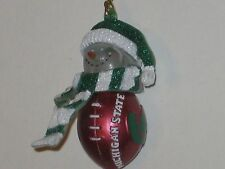 "Michigan State Spartan 2.75"" Striped Snowman w/ Scarf Hanging Christmas Ornament"