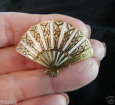 Damascene Pin  Fan Gold Plated Brooch Vintage SPAIN Enamel