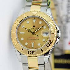 Rolex Yachtmaster Gold and Steel Champagne 168623 35mm Midsize Watch Chest