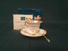 "WDCC Cinderella Gus & Jaq ""Tea for Two"" + Spoon + Saucer Plate + Key Pin"