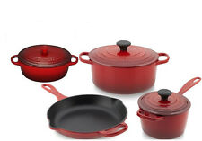 LE CREUSET  7 Piece Cast Iron Cookware Set Colors choice, New