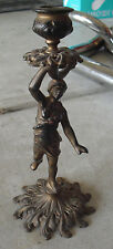 """Antique Cast Iron Woman Holding Candle Candle Holder 9 1/4"""" Tall LOOK"""