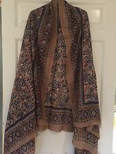 EXCLUSIVE ANOKHI QUETZAL PRINT Hand Block printed Scarf Sarong New Beige Teal