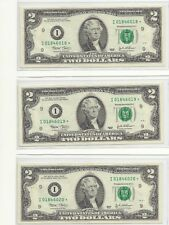U. S. Currency - $2.00 Federal Reserve Star Notes (*) - 2003 - 3 Consecutive