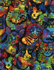 Paint Splatter Cats Fabric BY-THE-HALF-YARD; Timeless Treasures C4140 Cat Fabric