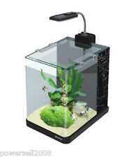 ME-175A Glass Enclosed Small Ecological Gifts Aquarium/LED Fish Tank Black &$