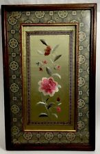 Antique 20th.c Chinese Silk Hand Embroidery Textile Flowers Under Glass V. Fine