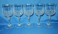 "Set of 5 Cristal D'Arques 6 1/2"" tall Crystal Faceted Wine goblets Longchamp"