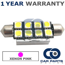 1X PINK CANBUS NUMBER PLATE INTERIOR 8 SUPER BRIGHT SMD LED BULBS 44MM 15PX1