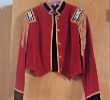 Womens FRONTIER Collection COAT Red Leather Western Beaded Fringe Jacket Med NOS