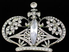 CLEAR RHINESTONE SILVER TONE PRINCESS CROWN BEAUTY PAGEANT TIARA PIN BROOCH 3""