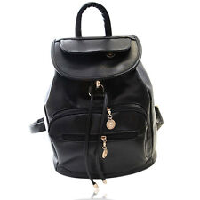 Fashion Women Girl Casual Pure Pattern PU Leather Unisex Backpack Black