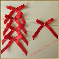 Solid Red Satin Pre-Tied Ribbon Bows for cello bags in wedding and Party