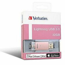 ($0 p&h) Verbatim 32gb Extended Memory Storage for iPhone 7 iPad Gold 65080