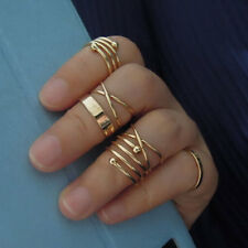Celebrity 6Pcs/Set Midi Above Knuckle Joint Rings Band Gold Tip Finger Biker