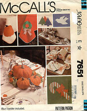 1980's VTG McCall's Holiday Table  Setting Package w/Transf. Pattern 7651 UNCUT