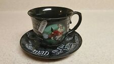 Disney Parks Alice In Wonderland Black Tea Cup and Saucer RED QUEEN WHITE RABBIT