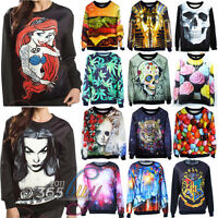 Cute Womens 3D Print Space Galaxy T shirt Sweater Hoodie Pullover Tops Tracksuit