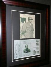 General George Patton Signed Identification Card World War II Framed
