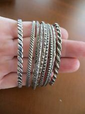 Victorian/Art Deco Stack 800 silver Texture Ornate 9 bracelets ( 7 + 2 single)