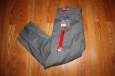NWT Mens KIRKLAND Light Gray Wool Pleated Cuffed Dress Pants Slacks Size 32 X 34