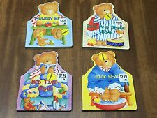 4 Sick Bed Time Hungry Rise and Shine Bear Board Books Reading Set Bed Time