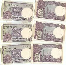 1986 3 UNC VINTAGE INDIA 1 RUPEE BANK NOTES LOT CURRENCY OLD MONEY WORLD