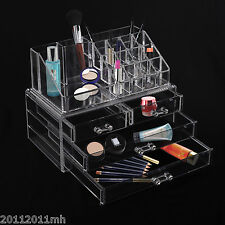 HOMCOM Acrylic Jewelry Makeup Organizer Cosmetic Storage Holder Box Rack Drawer