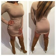 Beige or Nude Long sleeve Mini Dress with rounded hem size S