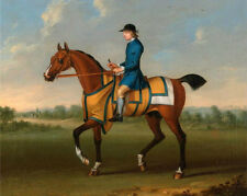 Oil art work Horse Racing horserace handsome young man riding horse in landscape
