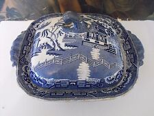 Antique Staffordshire Blue and White Willow Square Tureen with Lid