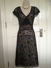 Phase Eight Black Lace Sequinned Overlay Nude Dress Size 12 Christmas Party