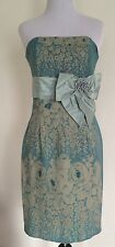 Tracy Reese Size 4 Wool Strapless Dress Floral Blue Bow Chic Victorian Elegant