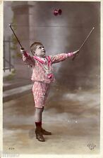BL189 Carte Photo vintage card RPPC Enfant fantaisie jeux diabolo baton corde