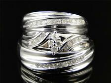 Mens and Ladies White Gold Finish Trio Genuine Diamond Engagement Wedding Ring
