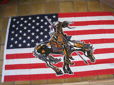3 ft x 5 ft American Flag with End of Trail Warrior Polyester