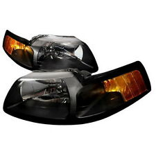 99-04 Ford Mustang Black Housing Headlights Amber SVT Convertable Saleen Cobra