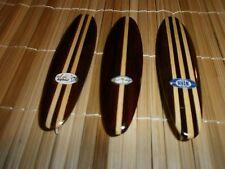 """(3) WOOD MINIATURE 5"""" SURFBOARDS LONGBOARD STYLE W/ FIN & CLASSIC SURF LOGO SET"""