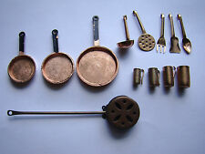 Vintage Lot Dollhouse Miniatures Copper Frying Pans Kitchen Utensils 261541