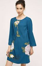 NWT Anthropologie Sapphire Hydrangea Swing Dress By Varun Bahl Size 4