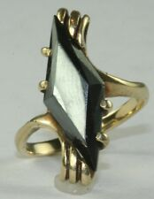 VINTAGE 10K GOLD FACETED UNUSUAL HEMATITE TALL RING SIZE 6