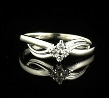 ALLISON KAUFMAN NATURAL 1/4ctw DIAMOND SOLID 14K WHITE GOLD PROMISE BAND RING