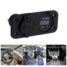 12V LED Waterproof Socket Power Outlet Volt Meter Panel Mount Marine Voltmeter E