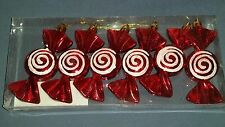 6 new ORNAMENTS red and white CANDY ORNAMENT peppermint MORE ORNAMENTS/STORE
