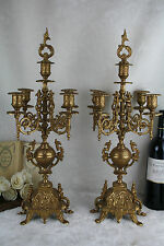PAIR French XL spelter gold gilt candelabras 5 arms dragon gothic 1950