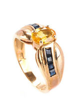 DESIGNER 14KT Gold Yellow Citrine Blue Sapphire Solitaire Accents Ring Sz 6.5