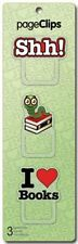 Shh Bookworm and I Heart Books Page Clips