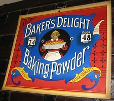 VINTAGE BAKERS DELIGHT BAKING POWDER SIGN W/BUTTER&EGGS PRICES FABULOUS GRAPHICS