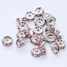 20pcs Plated silver crystal spacer beads Charms Findings 8mm FREE SHIPPING #21