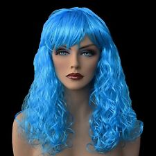 "18"" Long Turquoise Synthetic Curly Wavy Hair Wig for Cosplay Party Fancy Dress"